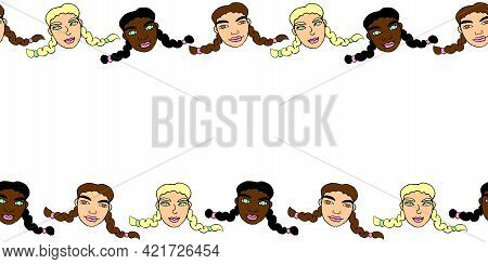 Frame, Background, Seamless Pattern Of Cartoon Faces Of Children, Girls With Pigtails. Hand Drawn Ve