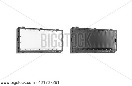 Blank Black And White Narrow Stretching Banner Grip Frame Mockup, 3d Rendering. Empty Canvas Poster