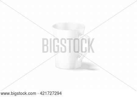 Blank Ceramic Bell-shaped 11oz Mug Mockup Stand, Side View, 3d Rendering. Empty Glassful Dishware Fo