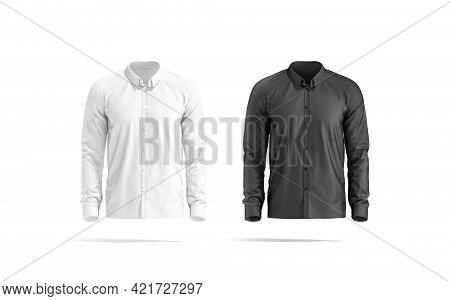 Blank Black And White Classic Shirt Mockup Set, Front View, 3d Rendering. Empty Neat Classy Dress Co