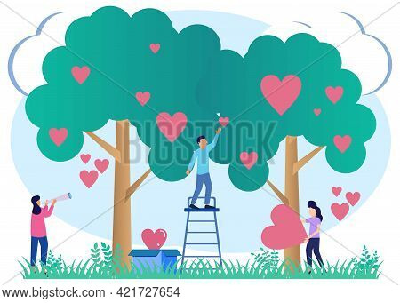 Vector Illustration Of Donation As A Form Of Volunteer Support Or The Concept Of Caring, Love And So