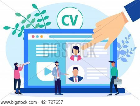 Vector Illustration Of Selection Of Recruitment Candidates With Index Finger On Business Concept Sel