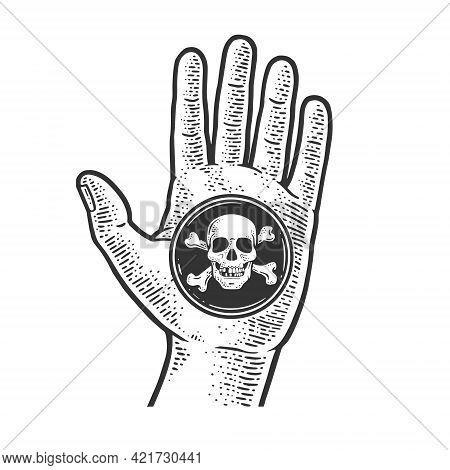 Black Spot Pirate Sign In Hand Line Art Sketch Engraving Vector Illustration. T-shirt Apparel Print