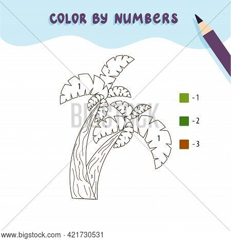 Color Cute Palm Tree By Number. Educational Math Game For Children. Coloring Page. Vector Illustrati