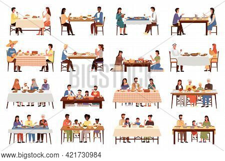 Set Of Illustrations On The Topic Of People Dine On Traditional Dishes From Different Countries. Peo