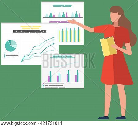 Woman Studies Statistics. Data Analysis On Banner. Girl With Clipboard Looks At Diagrams. Female Emp