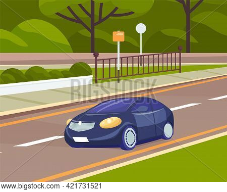 Landscape Of Urban City With Passenger Car. Cityscape Of Town With Highway. Automobile On Road Again