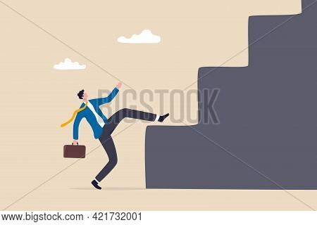 Business Difficulty And Challenge To Overcome To Achieve Success Goal, Big Step For Career Or Advers