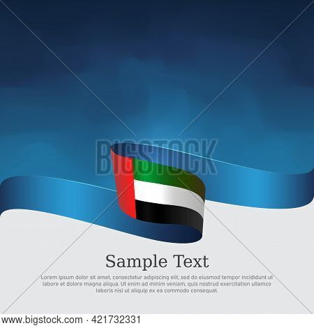 United Arab Emirates Flag With Wavy Ribbon On A Blue White Background. Background With Flag Of Uae.