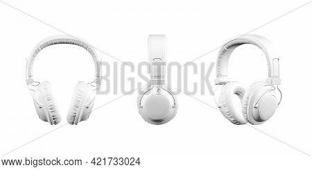 Professional Studio Headphones Mockup Isolated On White Background - 3d Render