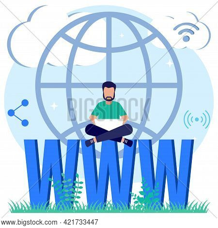 Modern Style Vector Illustration Of A Domain Registration Concept With A Person Character Registerin