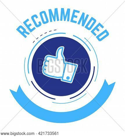 Recommended Sign With Thumb Up And Ribbon Vector