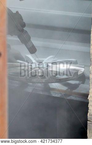 Sandblasting Of A Light-alloy Car Wheel During Restoration