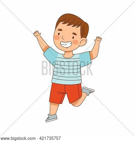 Elated Boy Jumping With Joy Expressing Excitement And Happiness Vector Illustration