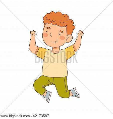 Elated Redhead Boy Jumping With Joy Expressing Excitement And Happiness Vector Illustration
