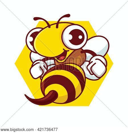 Cartoon Happy Bee With Sharp Stinger Holding Fists