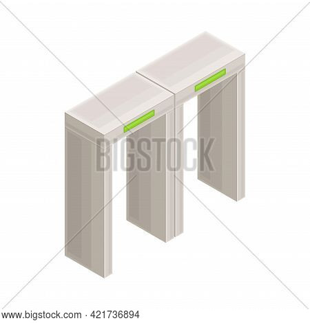 Metal Security Gate In Metro Or Subway And Rapid Transit Urban System Isometric Vector Illustration