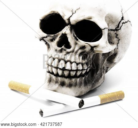 Human Skull With Two Cigarettes With Antique Dramatic Effect Symbol Of Vices And Death