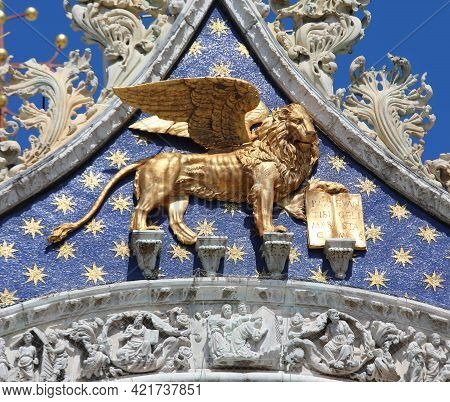 Golden Winged Lion Symbol Of The City Of Venice In Northern Italy And Also Of The Veneto Region