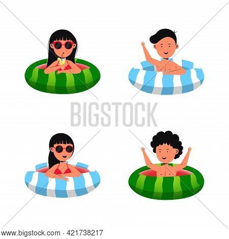 Set Of Four Cartoon Characters Of Kids Playing And Enjoying Summer Vacations With Friends In A Swimm