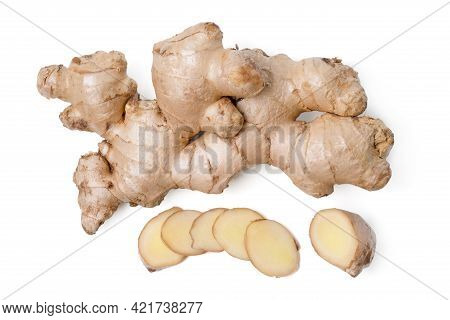 Isolated Ginger Root. Top View Fresh Ginger Root Rhizome With Shredded Ginger On White Background, H
