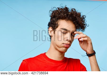 Guy With Curly Hair In A Red T-shirt Grimace Fun Phone