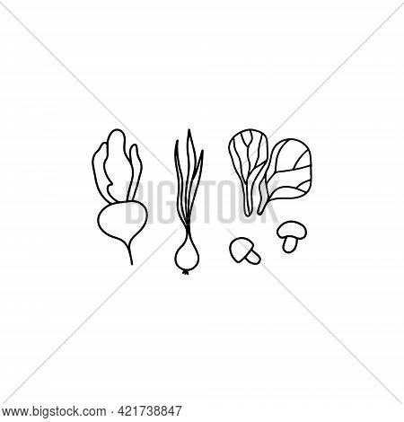 Mushrooms, Onion, Lettuce And Beetroot Icon. Hand Drawn Vector, Outline Illustration.