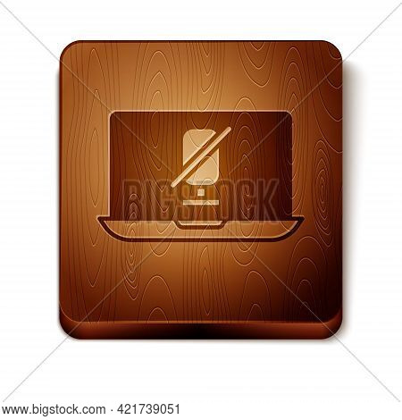 Brown Mute Microphone On Laptop Icon Isolated On White Background. Microphone Audio Muted. Wooden Sq