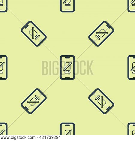 Blue Mute Microphone On Mobile Phone Icon Isolated Seamless Pattern On Yellow Background. Microphone