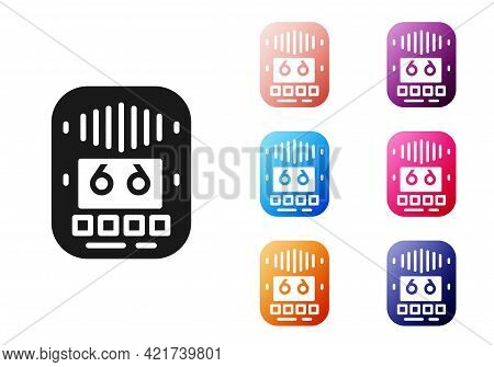Black Cassette Tape Player Icon Isolated On White Background. Vintage Audio Tape Recorder. Set Icons