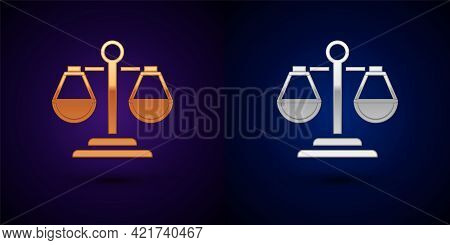 Gold And Silver Scales Of Justice Icon Isolated On Black Background. Court Of Law Symbol. Balance Sc