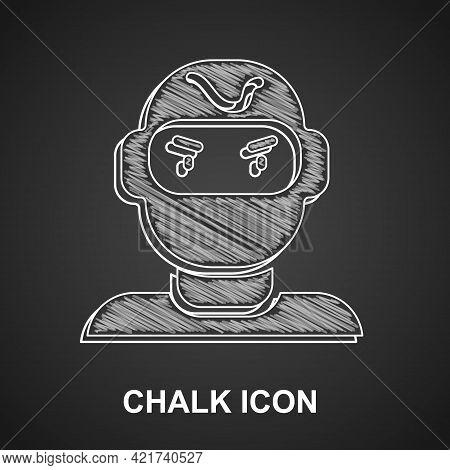 Chalk Thief Mask Icon Isolated On Black Background. Bandit Mask, Criminal Man. Vector