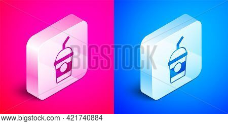 Isometric Milkshake Icon Isolated On Pink And Blue Background. Plastic Cup With Lid And Straw. Silve