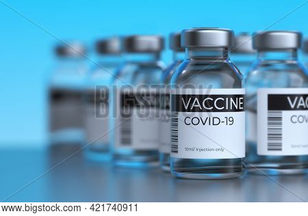Covid-19 Vaccination Concept. Covid-19 Corona Virus 2019-ncov Vaccine Bottles Injection. Vaccination