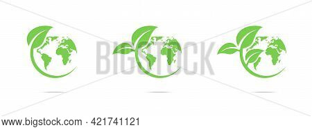 Green Earth Icon Set. Green World Icons Set. World Environment Day. Ecology Concept. Global Map With
