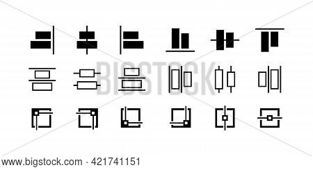 Set Of Black Editing And Formatting Icons. Alignment Icons Collection. Align Icons Set. Outline Symb