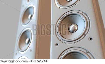 A Modern White Surround Sound Speaker Arrangment On A Light Backlit Studio Background - 3d Render