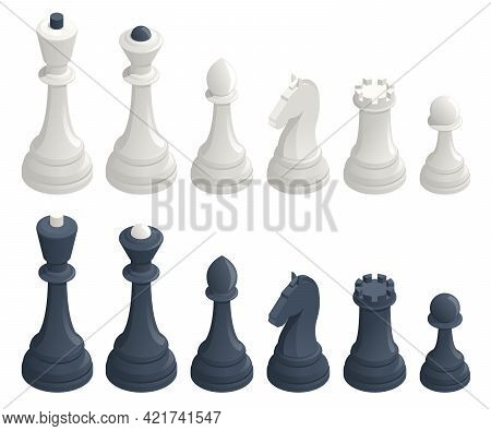 Isometric Set Of Standard Chess Pieces. Chess Icons. Board Game. A Chess Piece, Or Chessman, Is Any
