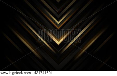 Abstract Black And Gold Luxury Geometric Background With Triangular Arrow Shapes. Vector Illustratio