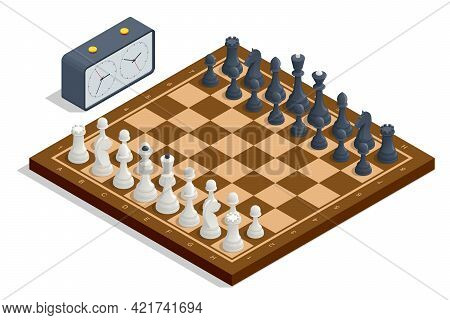 Isometric Chess Board And Pieces. Chess Icons. Board Game. A Chess Piece, Or Chessman, Is Any Of The