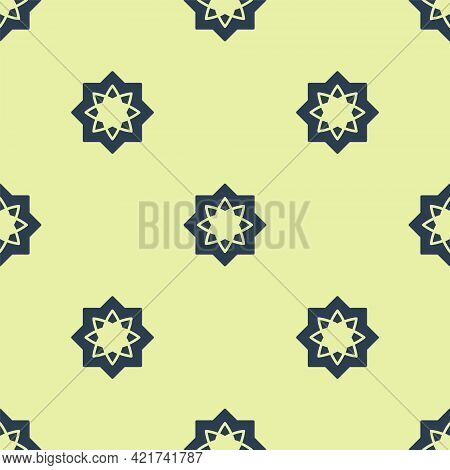 Blue Islamic Octagonal Star Ornament Icon Isolated Seamless Pattern On Yellow Background. Vector