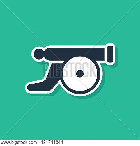 Blue Ramadan Cannon Icon Isolated On Green Background. Vector