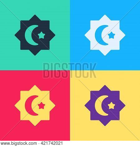 Pop Art Islamic Octagonal Star Ornament Icon Isolated On Color Background. Vector