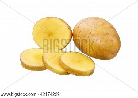 Potato And Potato Slices With Isolated On White  Background.