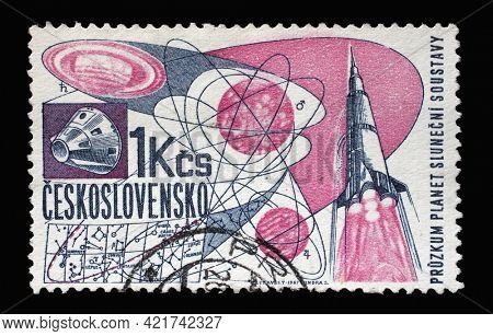 ZAGREB, CROATIA - SEPTEMBER 18, 2014: Stamp printed in Czechoslovakia shows Exploration of solar system and rocket, Research of space series, circa 1967