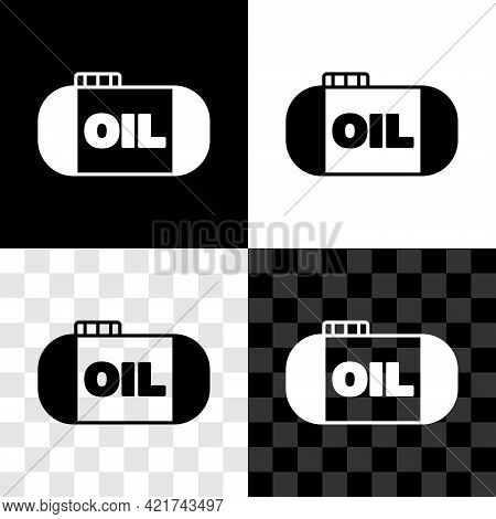 Set Oil Tank Storage Icon Isolated On Black And White, Transparent Background. Vessel Tank For Oil A