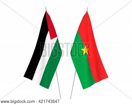 National Fabric Flags Of Palestine And Burkina Faso Isolated On White Background. 3d Rendering Illus