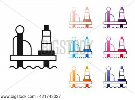 Black Oil Platform In The Sea Icon Isolated On White Background. Drilling Rig At Sea. Oil Platform,