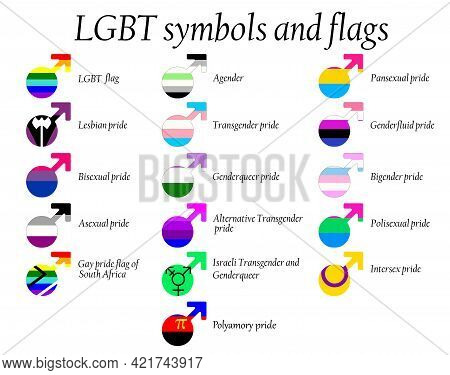 Lgbt Official Pride Flag Collection, Lesbian, Gay, Bisexual And Transgender . Collection Of Signs Fo