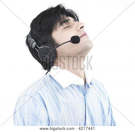 Asian Male Call Centre Executive Of Indian Origin